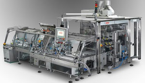 VFFS packaging system / floor-standing / for the pharmaceutical industry / for powders