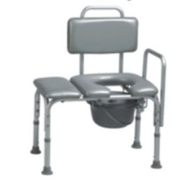 commode chair with bucket / with cutout seat