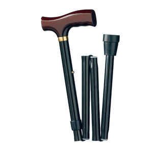 T-handle walking stick / height-adjustable / folding