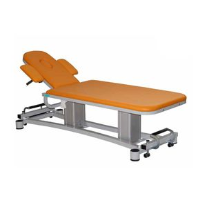 electric massage table / with armrests / height-adjustable / 2-section