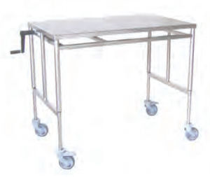 hydraulic instrument table / on casters / height-adjustable / stainless steel