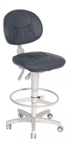 dental stool / height-adjustable / on casters / with backrest