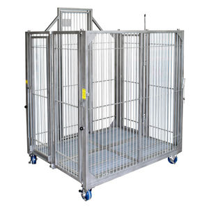 dog animal research cage / modular / folding / stainless steel