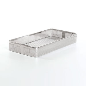 instrument sterilization tray / stainless steel / perforated