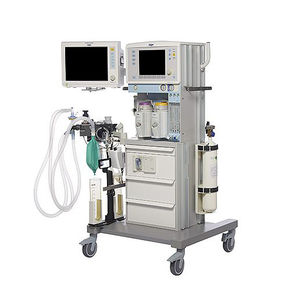 trolley-mounted anesthesia workstation / with respiratory monitoring / with electronic gas mixer