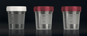 urine sample container / with screw cap / polypropylene