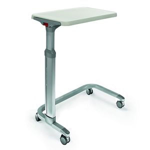 overbed table on casters / height-adjustable / tilting / manually operated