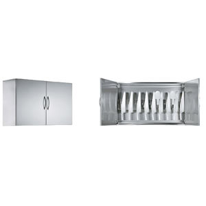 hospital cabinet / 2-door / wall-mounted / stainless steel
