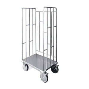 service trolley / for linen / with tray / stainless steel