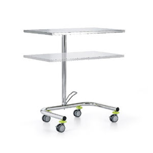 surgical trolley / for instruments / 2-tray