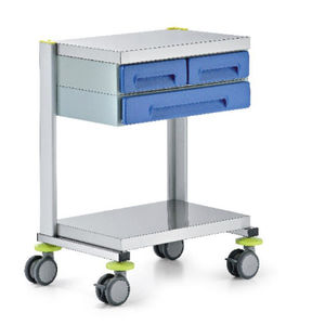 service trolley / equipment / for instruments / 3-drawer