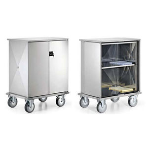 service trolley / clean linen / with door / stainless steel