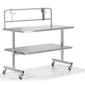 medical instruments packing table / rectangular / on casters / stainless steel
