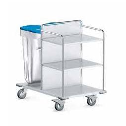 service trolley / for linen / waste / 3-shelf