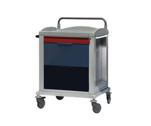 multi-function trolley / for medical records / 3-drawer / with shelf