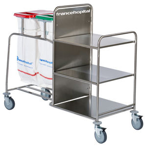 transport trolley / dirty linen / clean linen / with shelf