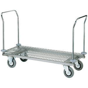 transport trolley / cleaning / for linen / with shelf
