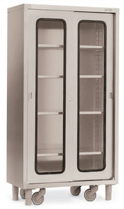 operating room cabinet / 2-door / on casters / stainless steel