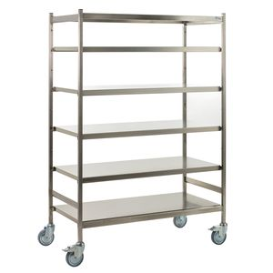 transport trolley / for sterilization containers / with shelf / open-structure