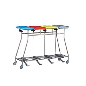 transport trolley / for linen / 4-bag / stainless steel
