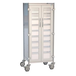 hospital cabinet / 2-door / with tray / on casters