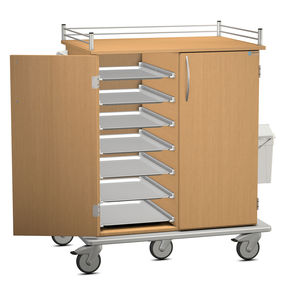 meal delivery trolley / meal / with waste bin / 2-door