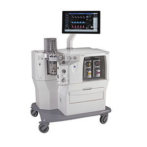 trolley-mounted anesthesia workstation / with respiratory monitoring / with electronic gas mixer / with gas scavenging system