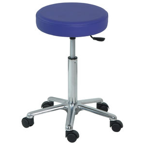 doctor's office stool / height-adjustable / pneumatic / stainless steel