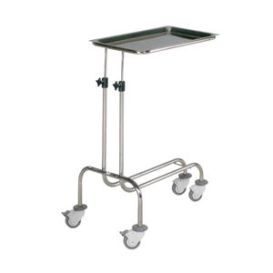 Mayo table with brake / on casters / height-adjustable / stainless steel