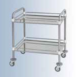 transport trolley / for instruments / 2-tray / stainless steel
