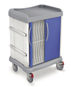 transport trolley / medical records / with defibrillator shelf / horizontal-access