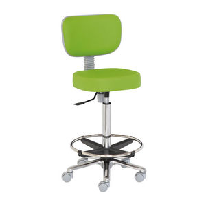 surgeon stool / height-adjustable / on casters / with backrest