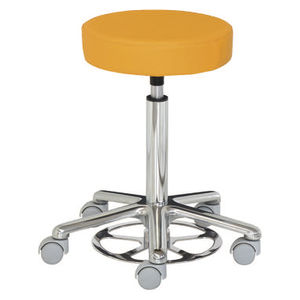 healthcare facility stool / height-adjustable / swivel / on casters