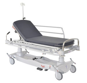 emergency stretcher trolley / hydraulic / height-adjustable / with adjustable backrest
