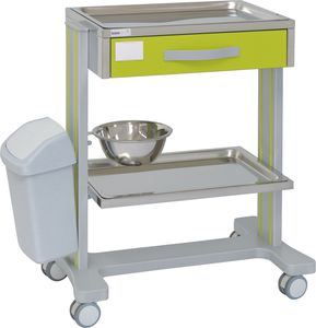 multi-function trolley / 2-tray / with waste bin / with bowl