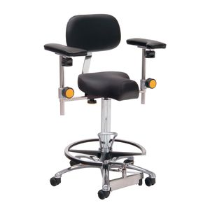 surgeon stool / height-adjustable / tilting / on casters
