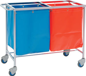 storage trolley / dirty linen / with storage unit / 2-bag