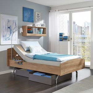 homecare bed / manual / fixed-height / 2-section