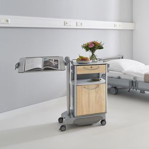 bedside table on casters / with integrated over-bed table / with refrigerator compartment / with drawers