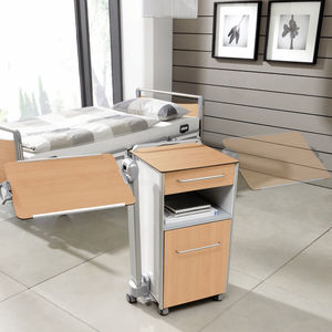 bedside table on casters / with integrated over-bed table / with drawers