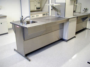 histopathology laboratory workstation / for sample preparation / with sink / with downdraft ventilation
