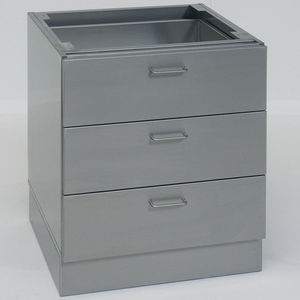 base cabinet / laboratory / 3-drawer / stainless steel