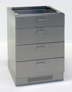 base cabinet / laboratory / 4-drawer / stainless steel
