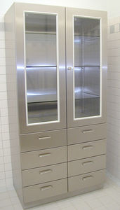 instrument cabinet / operating room / with hinged door / stainless steel