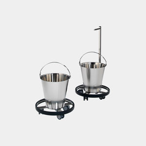 kick bucket on casters / stainless steel