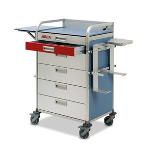 emergency trolley / for general purpose / with drawer / with oxygen cylinder holder