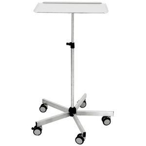 instrument table on casters / height-adjustable / stainless steel