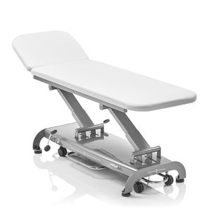 electric examination table / height-adjustable / on casters / with adjustable backrest
