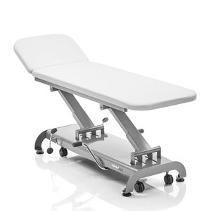 hydraulic examination table / height-adjustable / on casters / with adjustable backrest