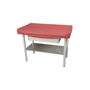 manual examination table / fixed-height / 1-section / with storage unit